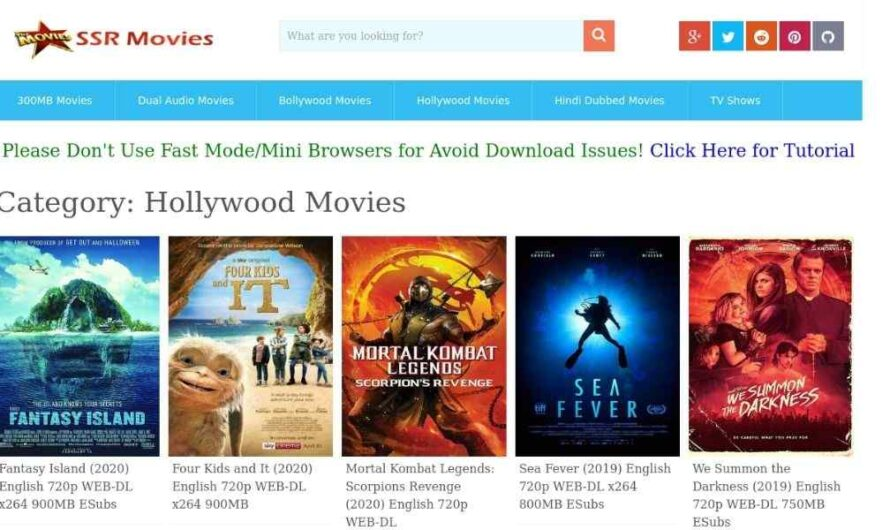 SSRMovies – Pirated HD Movies Download and Watch Online Websites